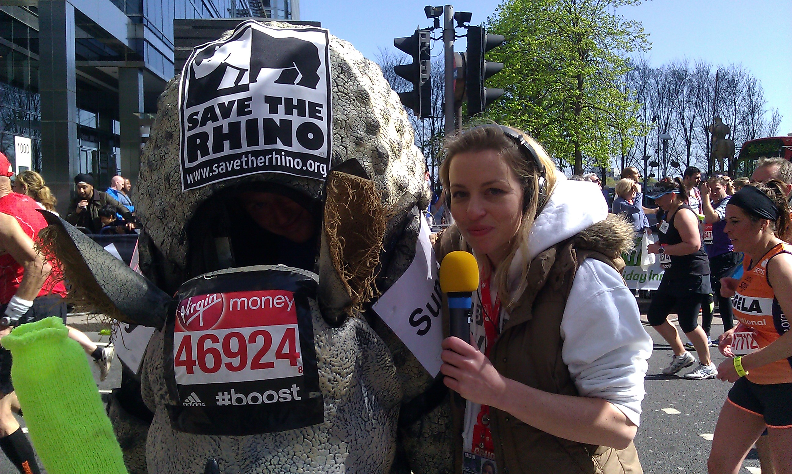 Interviewing Sunny the Rhino at Mile 19